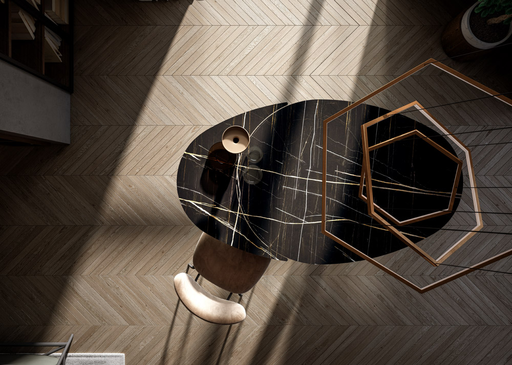 Tavolo One Easyline Marble Glass Sahara Noir by Ozzio